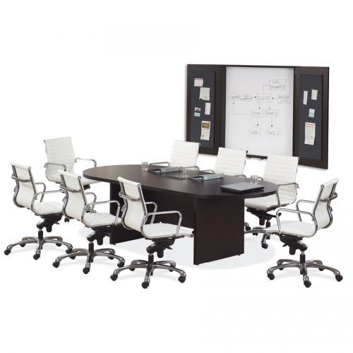 8' Racetrack Conference Table with Slab Base - 7 Colors!