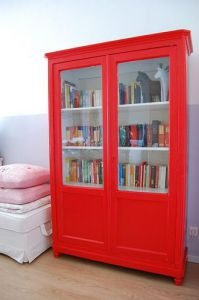 Bookcase painted red